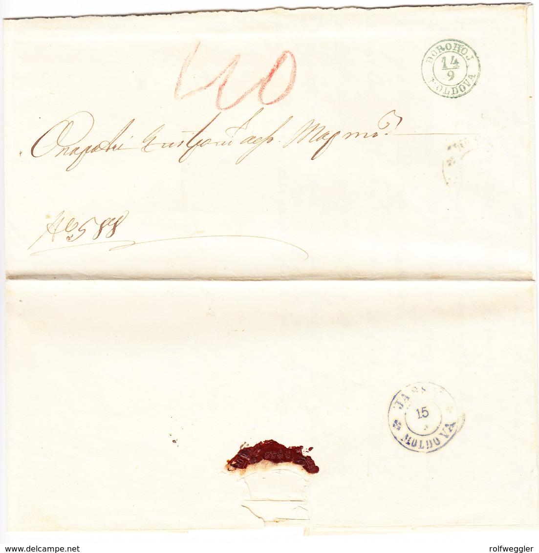 1860 Vorphila Inland Brief Aus Dorohoj; Rückseitig Stempel : Jassy - 1858-1880 Moldavie & Principauté