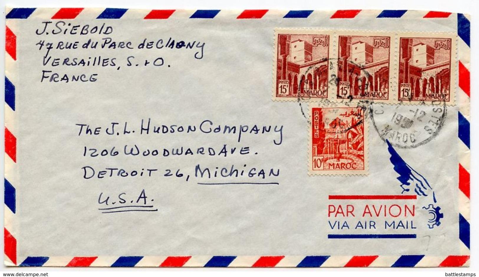 Morocco, French 1951 Airmail Cover Casablanca To U.S., Scott 255 & 275 - Marokko (1891-1956)