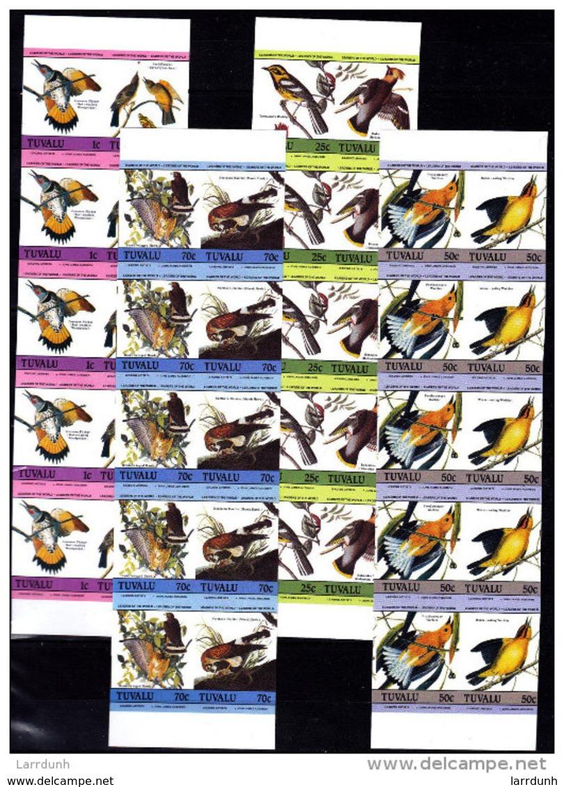 Tuvalu Audubon Birds Flicker Flycatcherwarbler Waxwing Hawk More IMPERFORATE Strips Of Five SOME CREASING MNH 1985 A04s - Erinnofilia