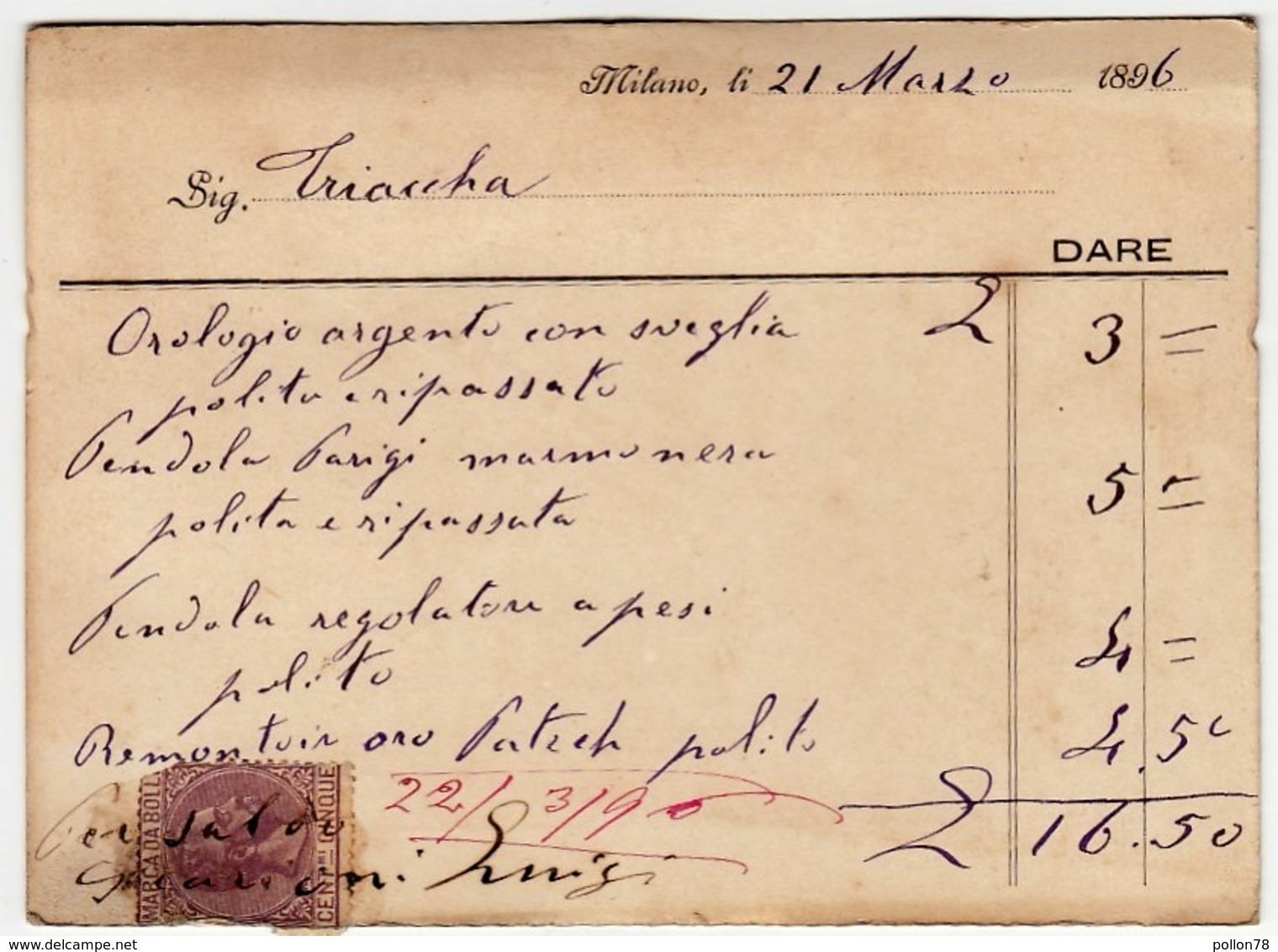 CARTONCINO - RICEVUTA - BIGLIETTO DA VISITA - LUIGI SCARIONI - OROLOGERIA - MILANO - 1896 - Vedi Retro - Cartoncini Da Visita