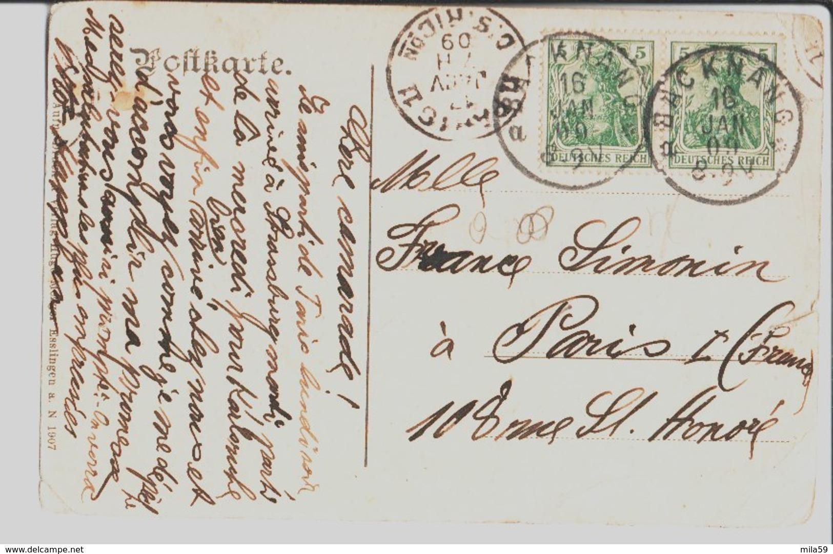 Backnang. Rathaus. De Otto Kapphan à Melle France Simonin à Paris. 1909. - Backnang