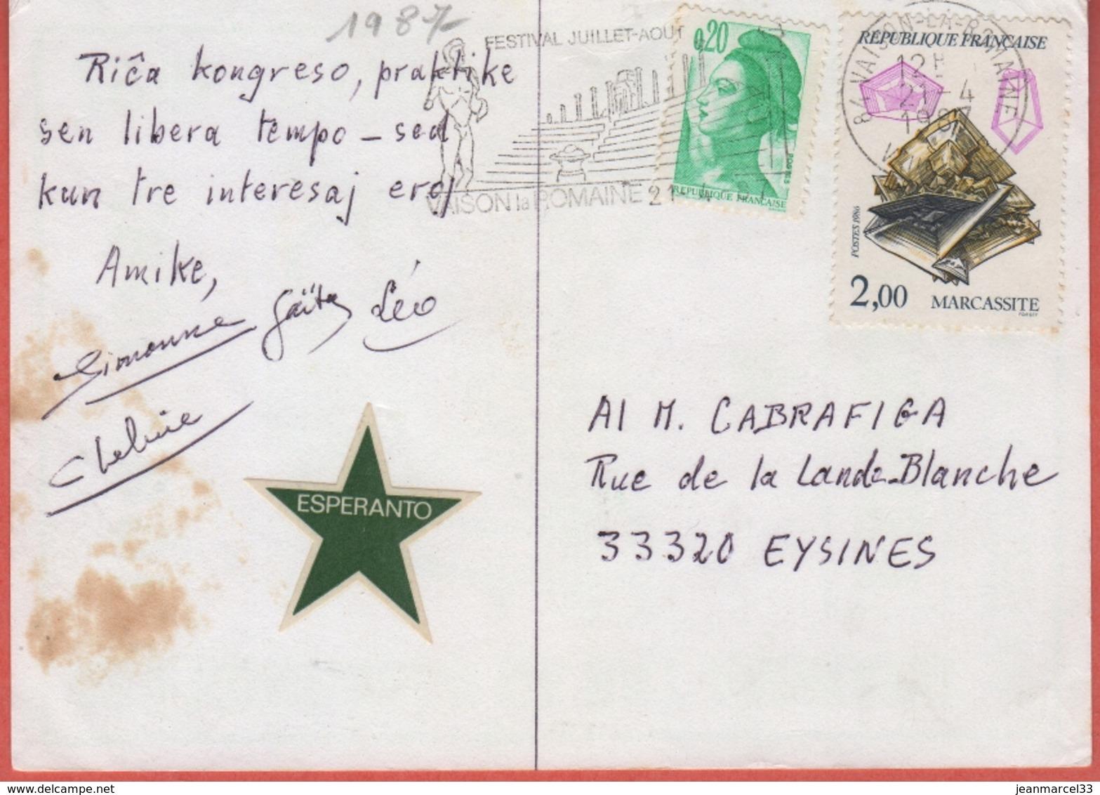 Espéranto Carte Postale Avec Les Cachets Du 42a Congrès De Vaison-la-Romaine 18-19-20-21 Avril1987 - Esperanto