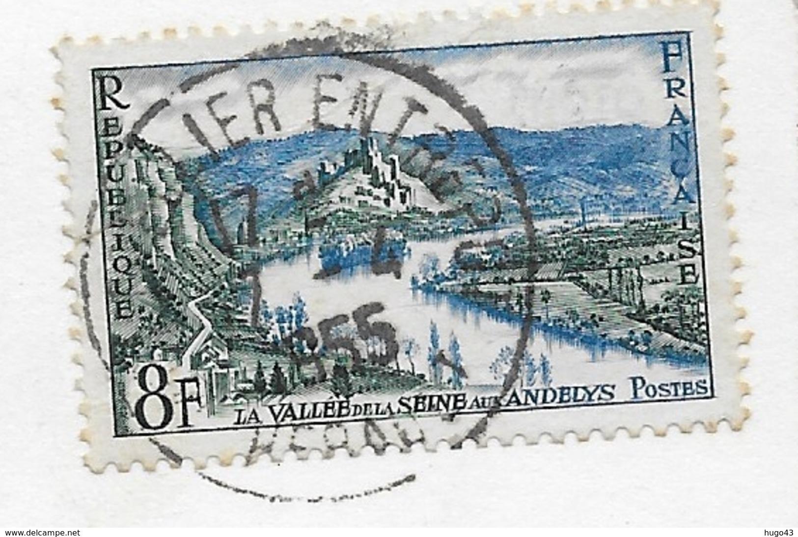 (RECTO / VERSO) MONTPELLIER EN 1955 - N° 9 - LA CATHEDRALE VUE DE COTE - BEAU TIMBRE - FORMAT CPA VOYAGEE - Montpellier