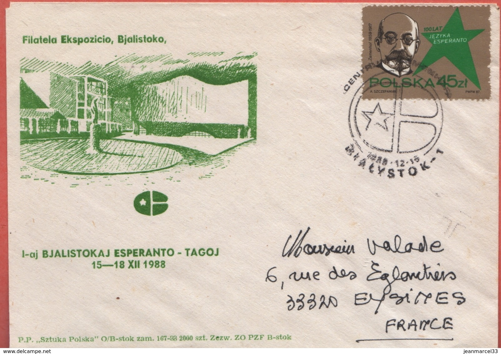 Espéranto Enveloppe Illustrée Avec Timbre Du Centenaire Kialystok Pologne 15.12.1988 - Esperanto