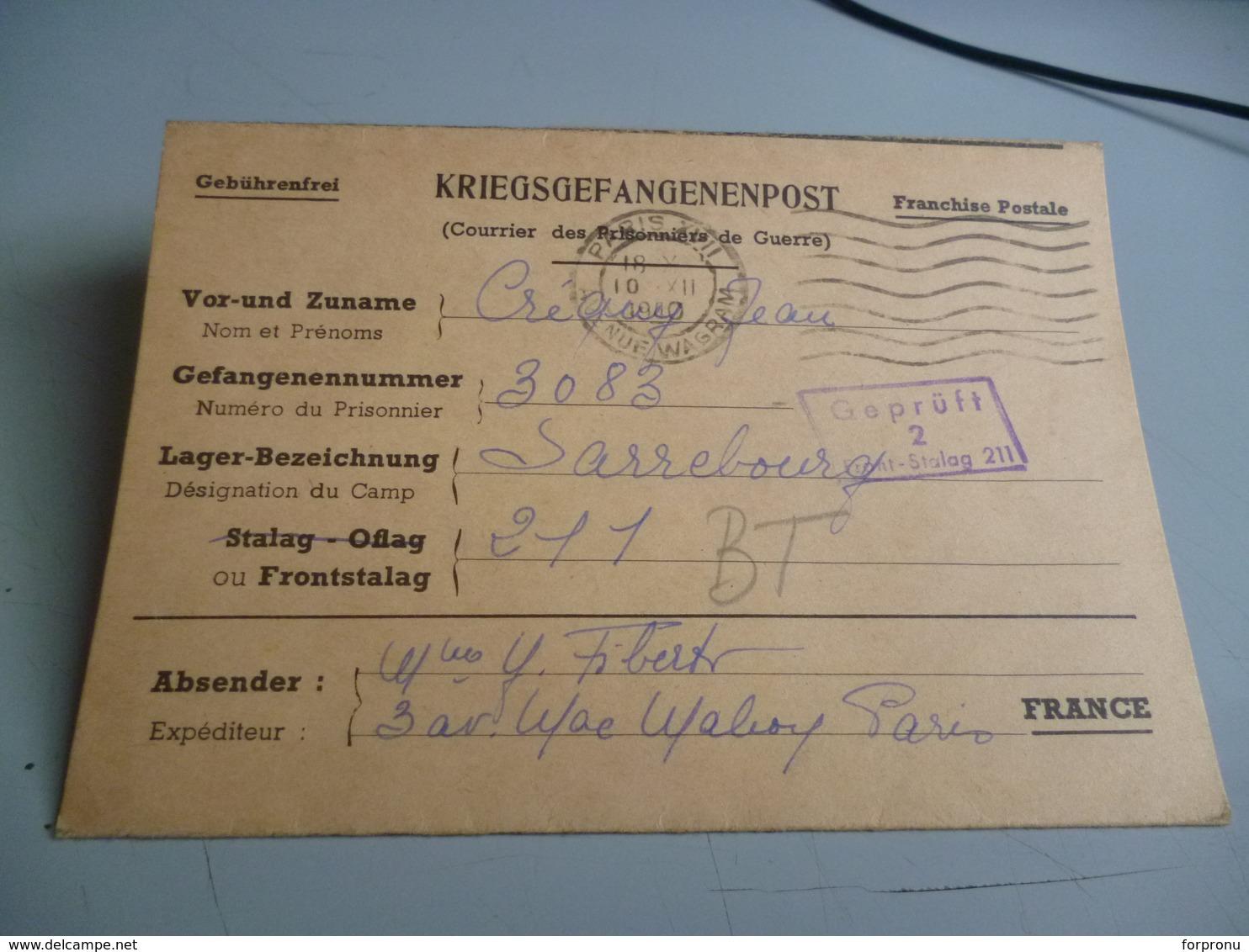 1 CARTE LETTRE DE PRISONNIER DE GUERRE  DU FRONTSTALAG 211 DE SARREBOURG POUR PARIS 10/12/40 - 1939-45