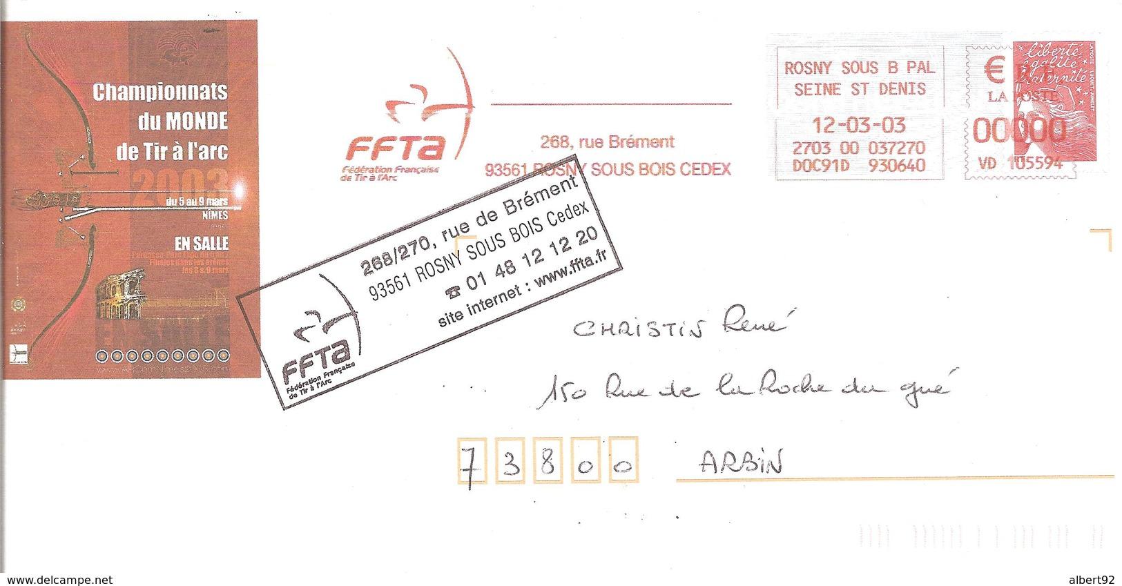 2003 EMA  Championnats Du Monde De Tir à L'Arc : Nîmes.Entier Postal - Boogschieten