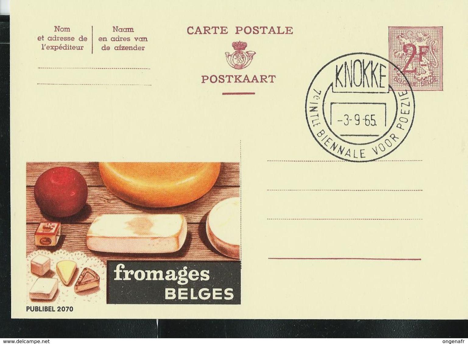 Publibel Obl. N° 2070 ( Fromages BELGES)  Obl. KNOKKE  03/09/65 - Stamped Stationery