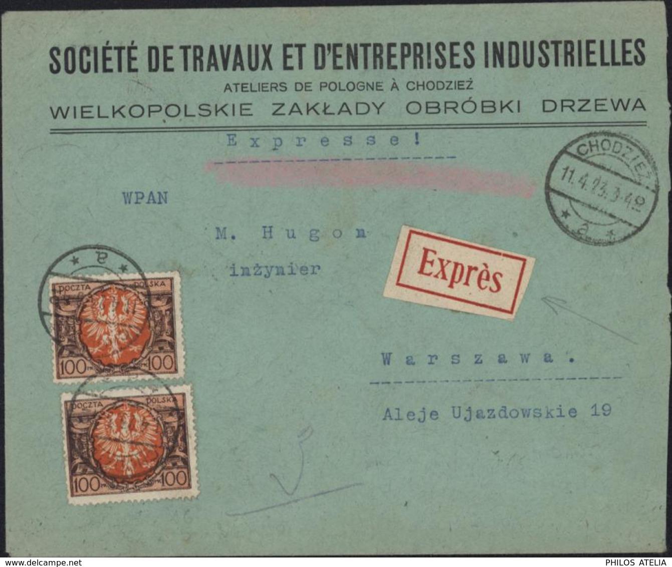 Pologne YT 229 X16 + 262 X5 Poczta Polska Recto Verso Inflation Rare Exprès CAD Chodziez A 11 4 23   3-40 - 1919-1939 Republic