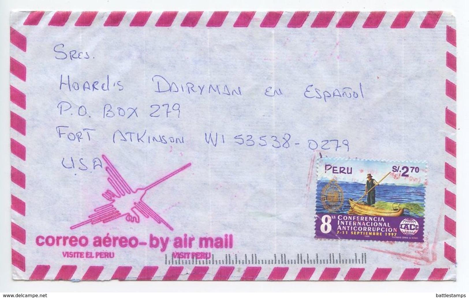 Peru 1990's Airmail Cover Paucarpata, Arequipa To Fort Atkinson Wisconsin, Scott 1155 - Peru