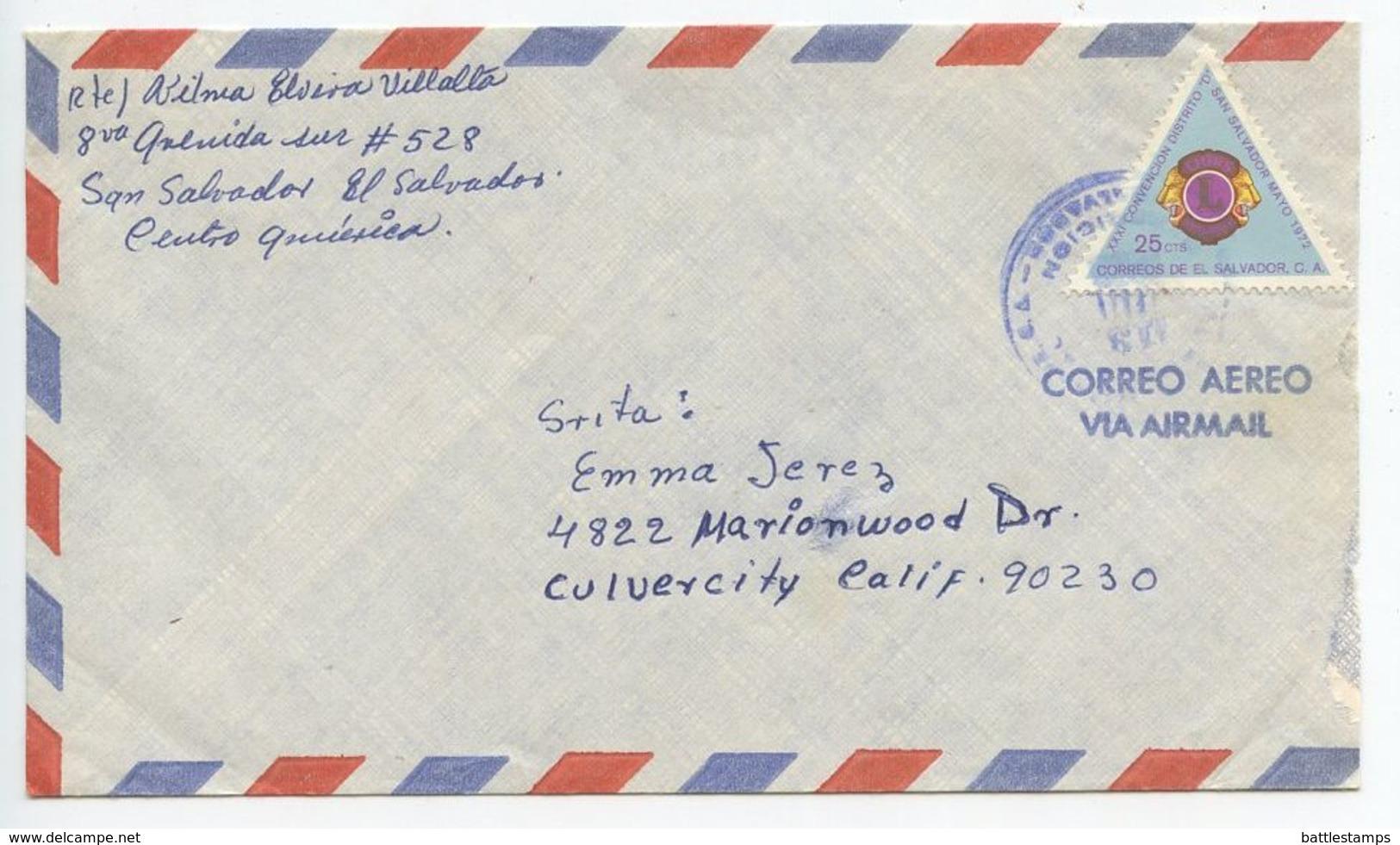 El Salvador 1970's Airmail Cover San Salvador To Culver City CA, Scott 835 Lions Int. - El Salvador