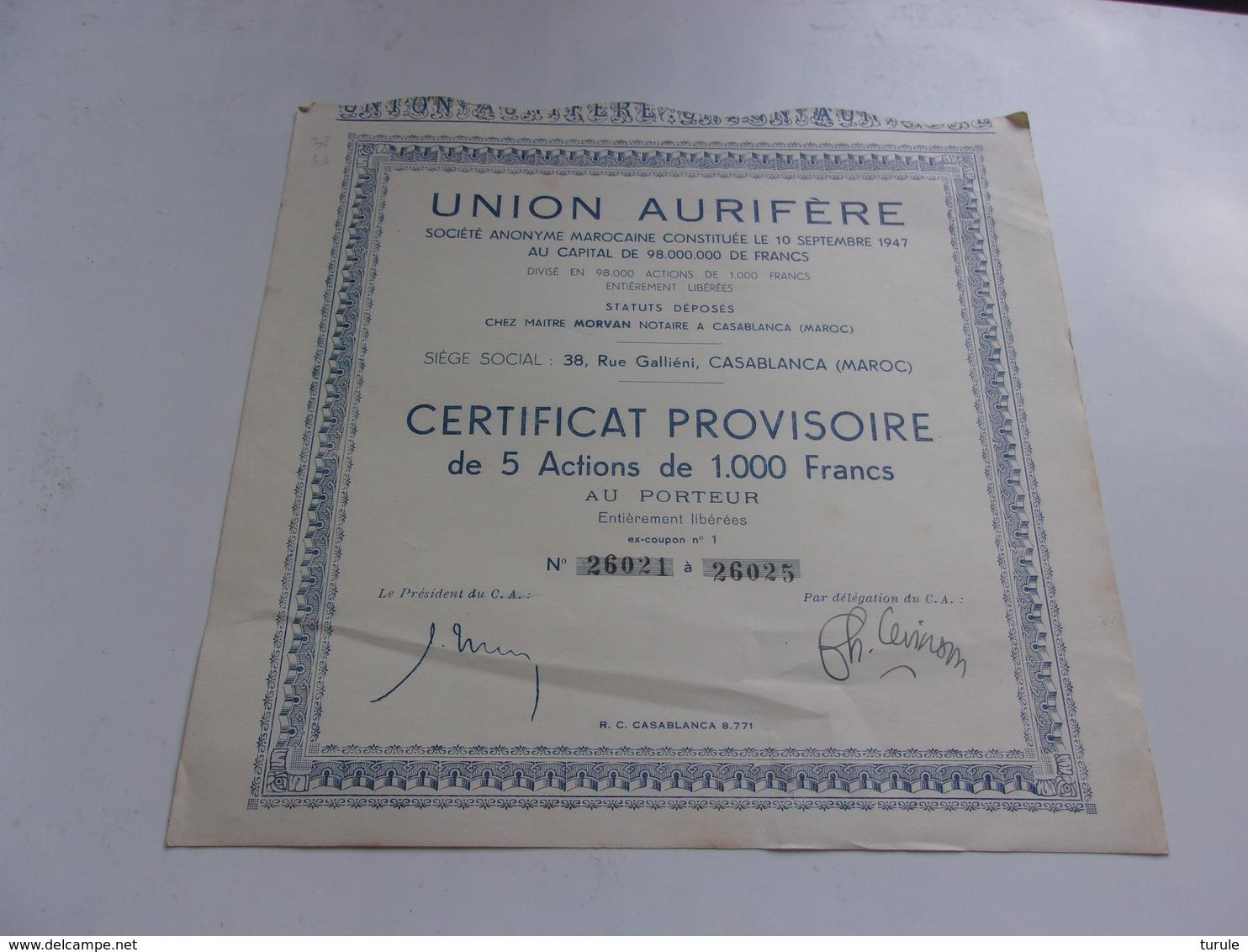 UNION AURIFERE (certificat 5 Actions 1000 Francs) Casablanca Maroc - Aandelen