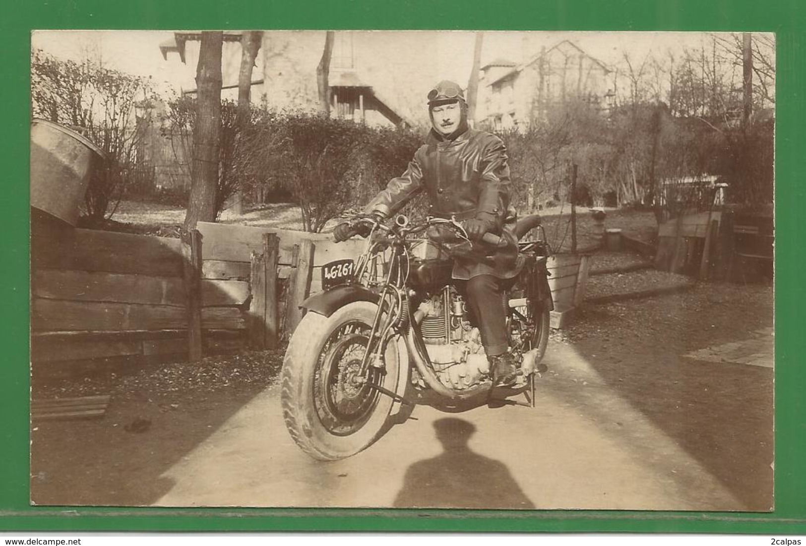 MORCEAU DE CARTE PHOTO ( 12,5 / 8 Cm )  :  MOTO  A IDENTIFIER - Motos
