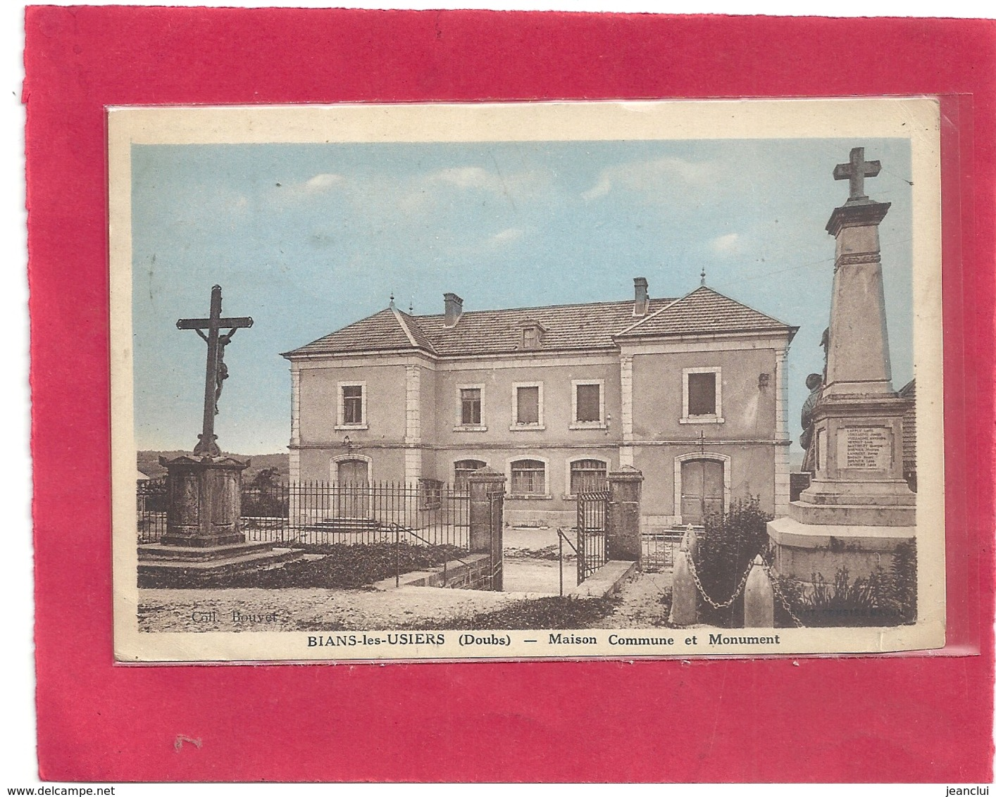"""BIANS-LES-USIERS . MAISON COMMUNE ET MONUMENT . AFFR TYPE """" MERCURE """" AU VERSO . 2 SCANES - France"""