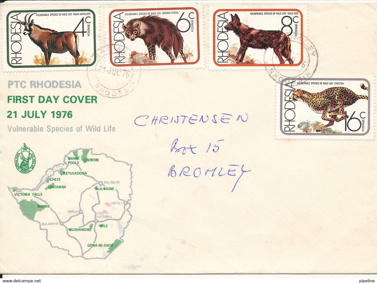 Rhodesia FDC 21-7-1976 Complete Set Of 4 Vulnerable Species Of Wild Life With Cachet - Rhodesia (1964-1980)