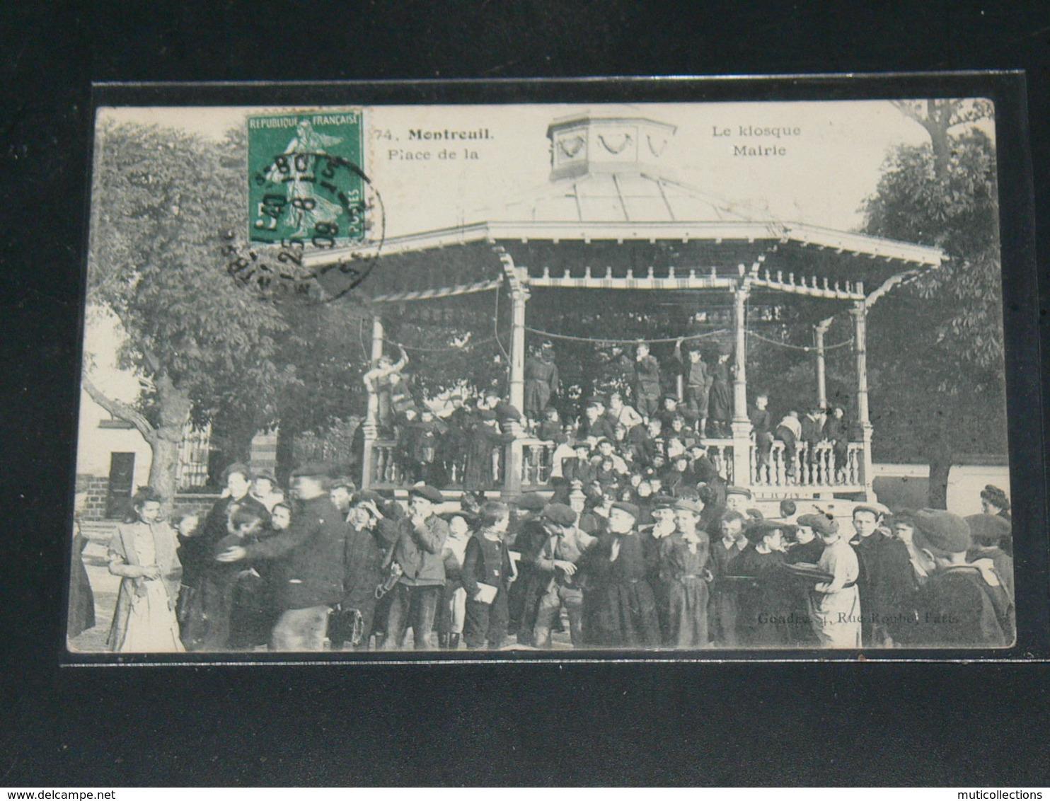MONTREUIL SOUS BOIS     / 1910 /   VUE  RUE ANIMEE LE KIOSQUE  ....   / CIRC /  EDITION - Montreuil