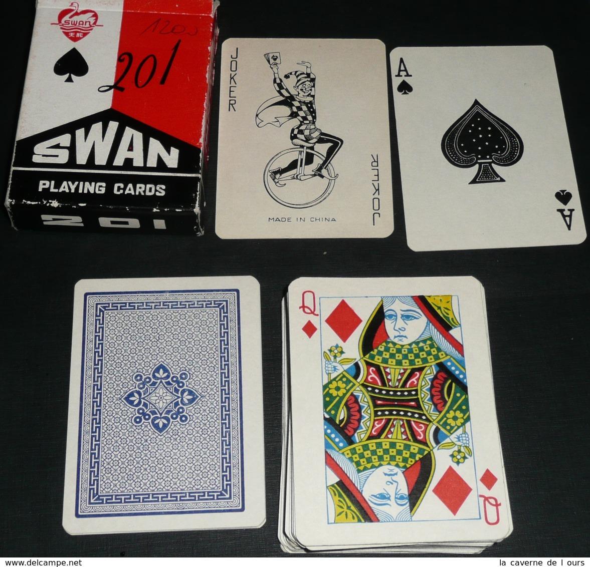 Rare Jeu De 54 Cartes Chinois, Chine Swan 201, Joker Ace Of Spade, As De Pique - Jeux De Société