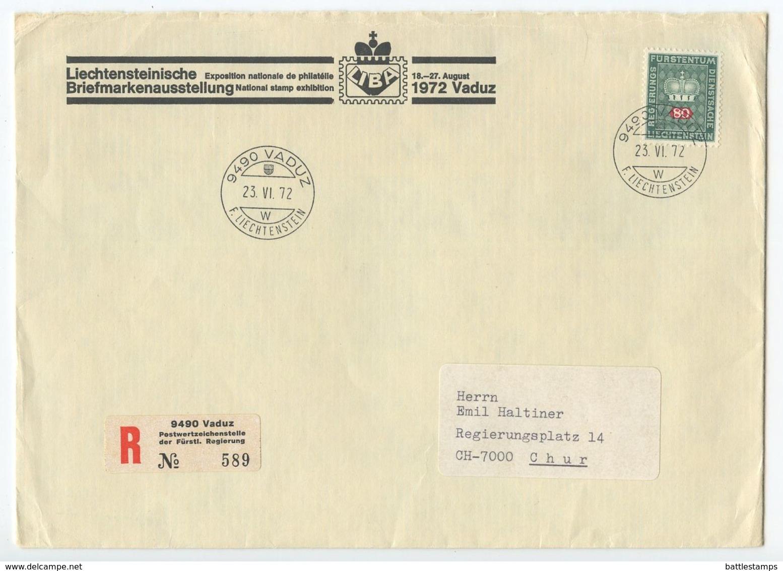 Liechtenstein 1972 Registered Official Cover Vaduz To Chur Switzerland, Scott O54 - Liechtenstein