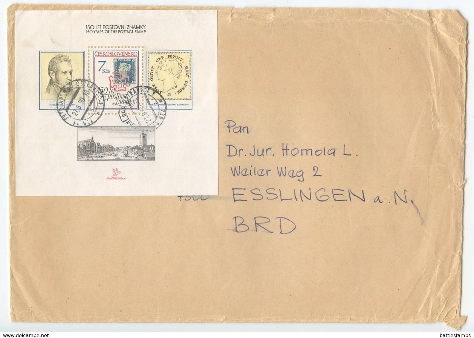 Czechoslovakia 1990 Cover Frýdlant Nad Ostravicí To Germany, Scott 2789 London Show S/S - Covers & Documents