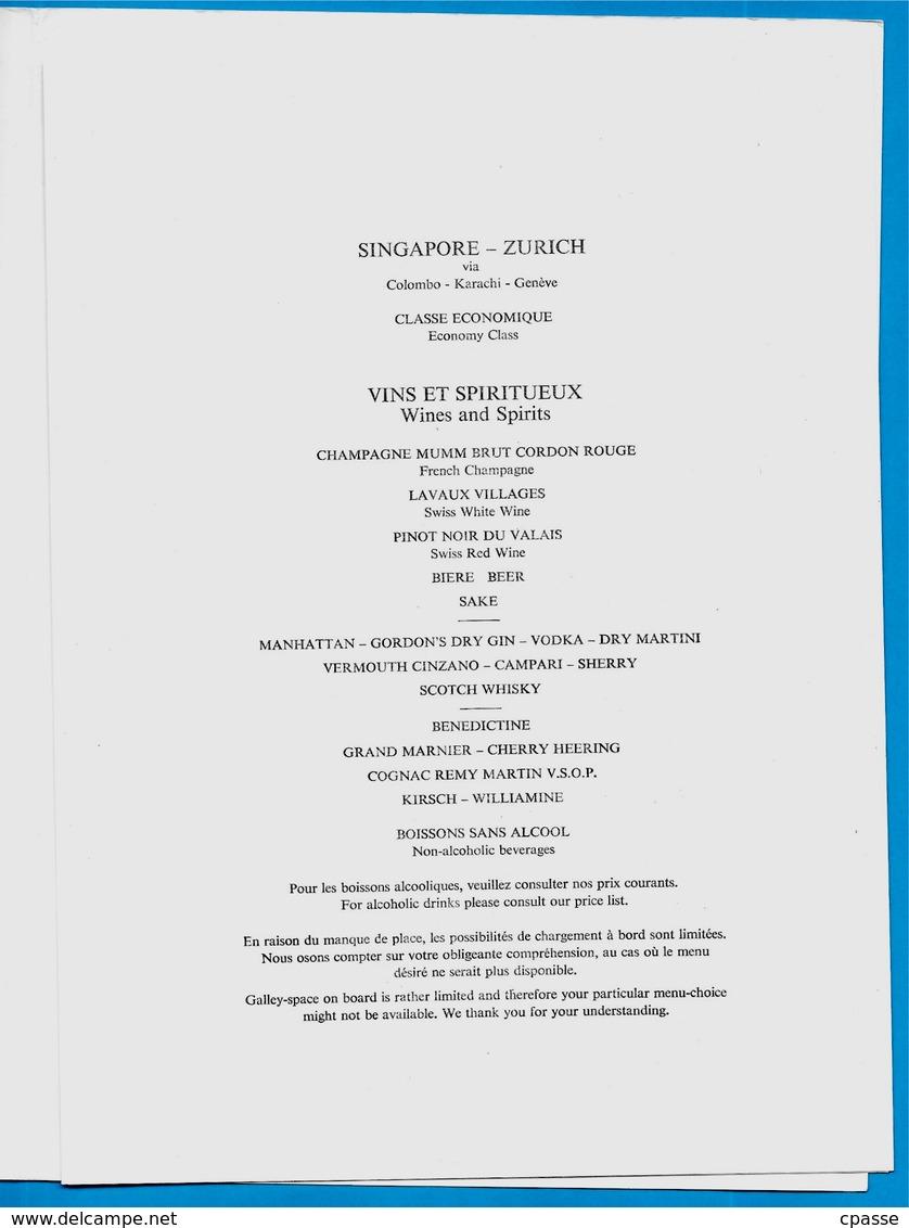 MENU De La Compagnie Aérienne SWISSAIR - Dessin Signé Et Daté 1953 - SINGAPORE - ZURICH - Menus