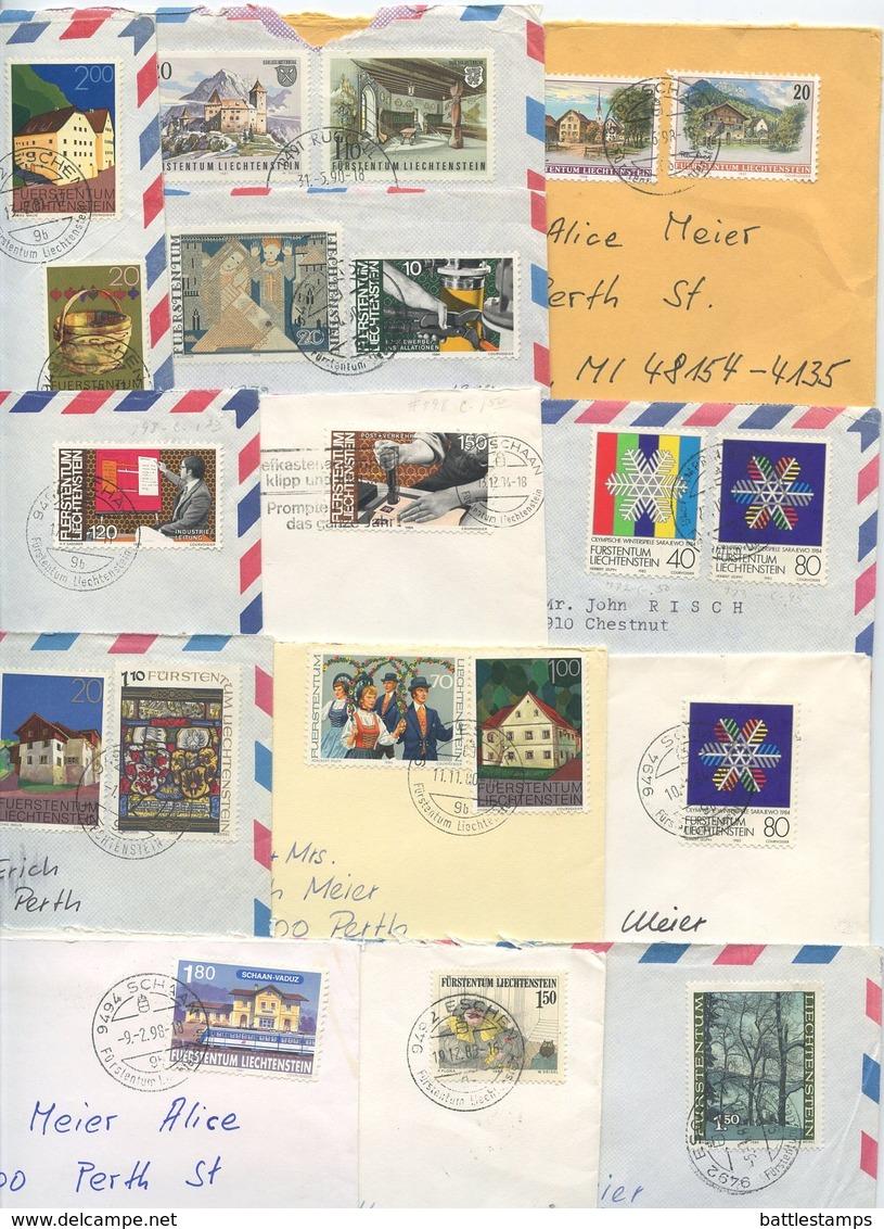 Liechtenstein 1980's-1990's 13 Airmail / Prioritaire Covers, Mix Of Stamps & Postmarks - Liechtenstein