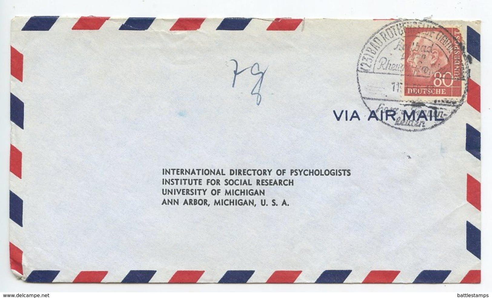Germany, West 1956 Airmail Cover Bad Rothenfelde To Ann Arbor MI, Scott 717 Heuss - [7] Federal Republic