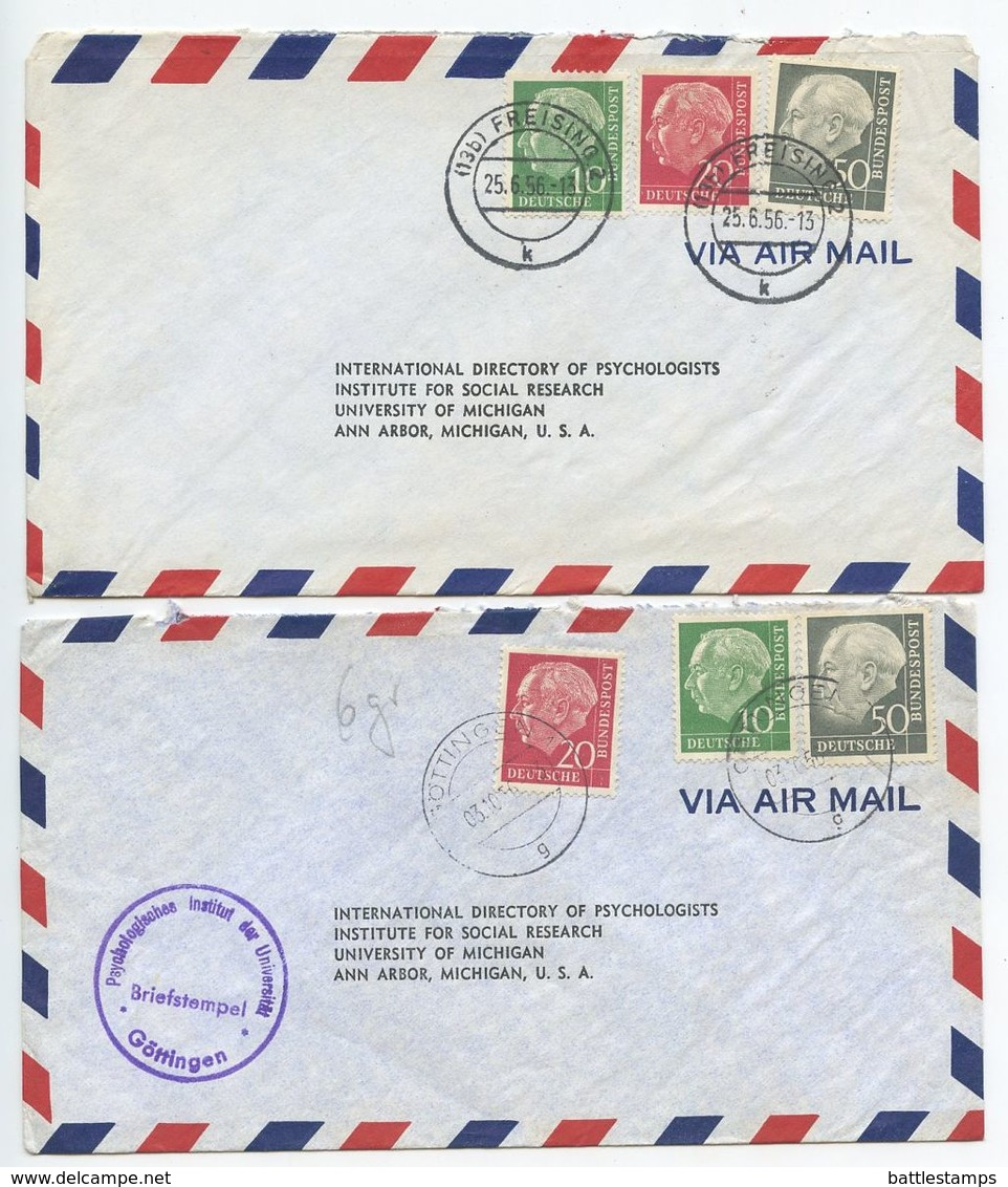 Germany, West 1956 2 Airmail Covers Freising & Göttingen, Scott 708, 710, 714 Heuss - [7] Federal Republic