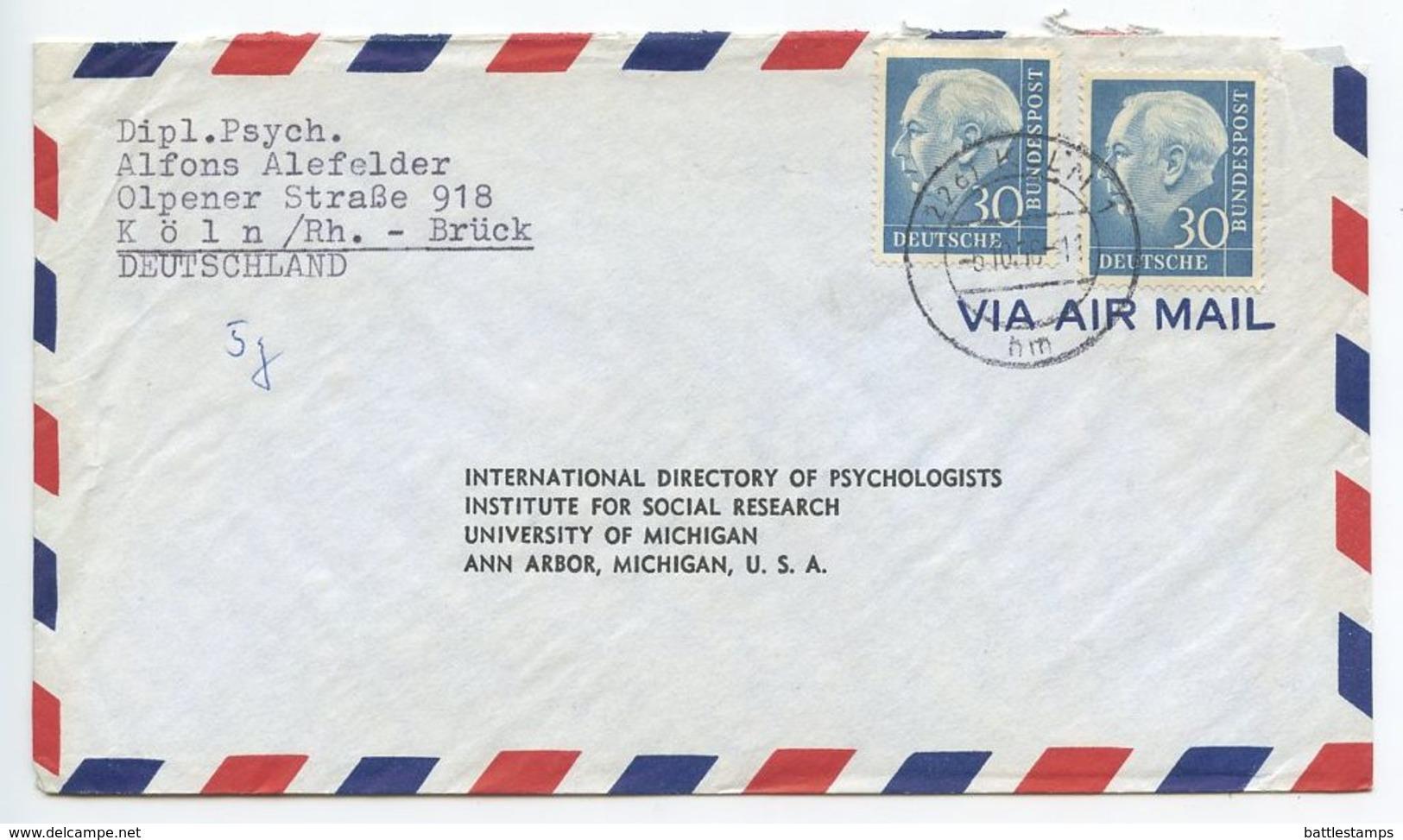 Germany, West 1956 Airmail Cover Köln To U.S., Scott 712 X 2 Heuss - [7] Federal Republic