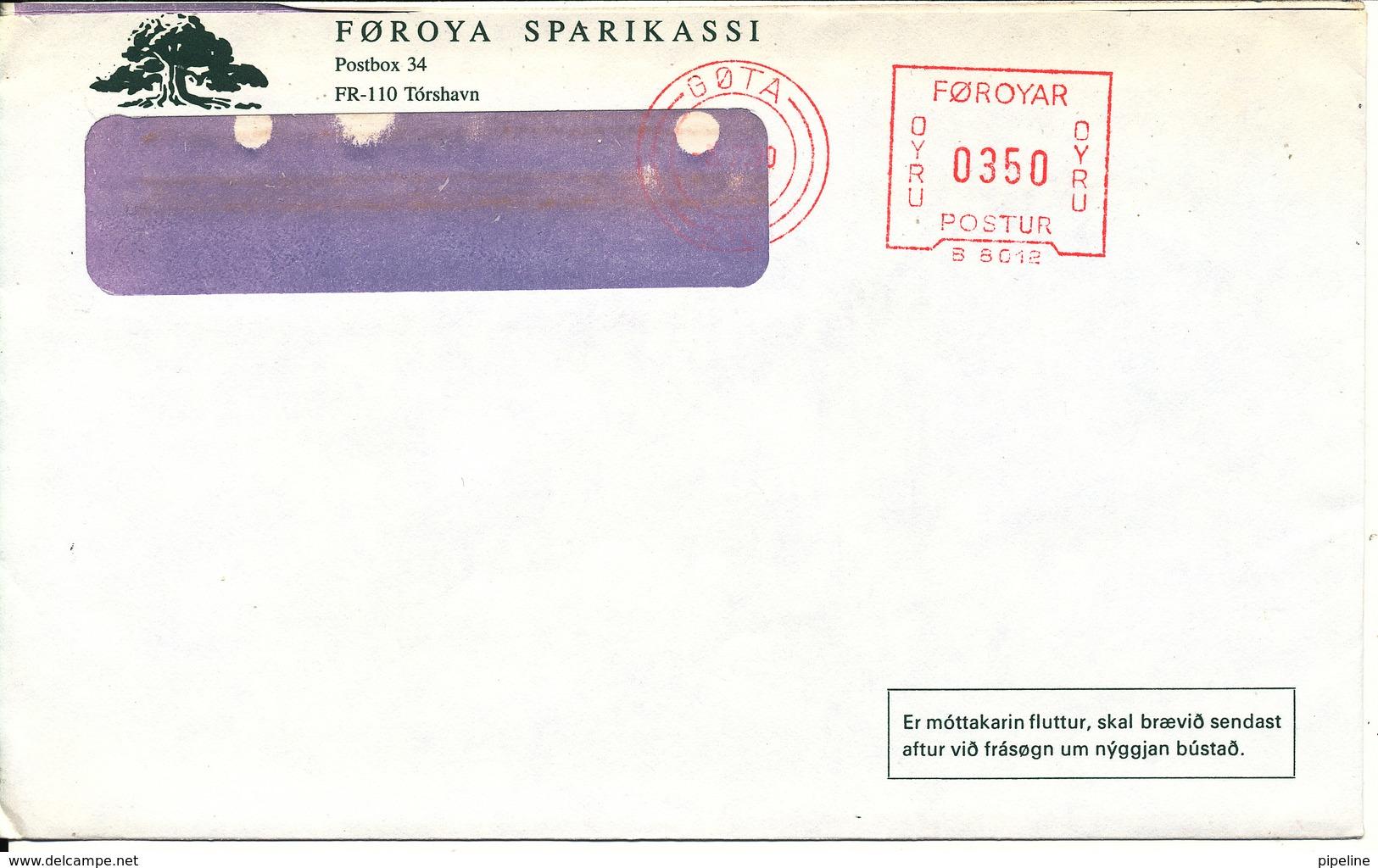 Faroe Islands Bank Cover With Meter Cancel Göta 5-7-1990 (Föroya Sparikassi) - Faroe Islands