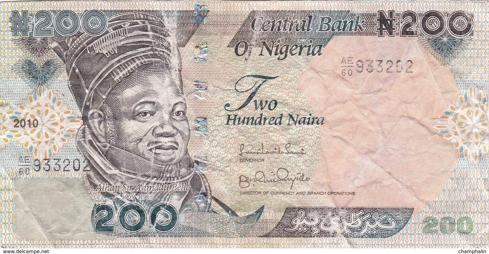 Nigeria - Billet De 200 Naira - Alhaji Sir Aamadu Bello - 2010 - Nigeria