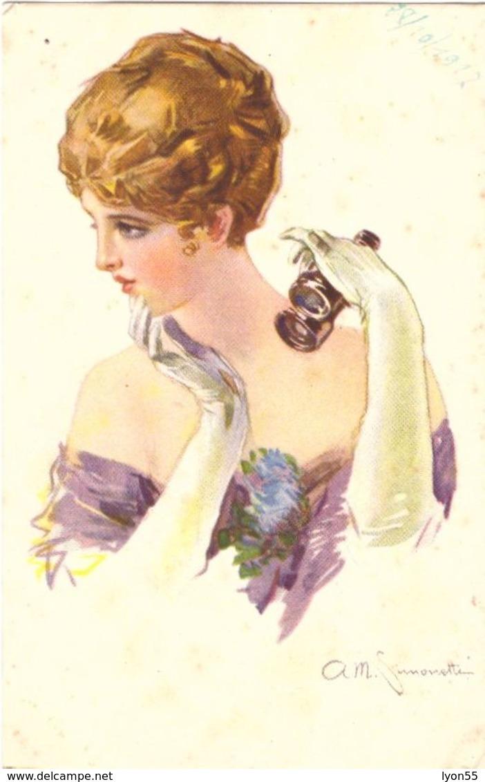 A M Simonetti élégante Avec Lunettes De Théatre - Illustrators & Photographers
