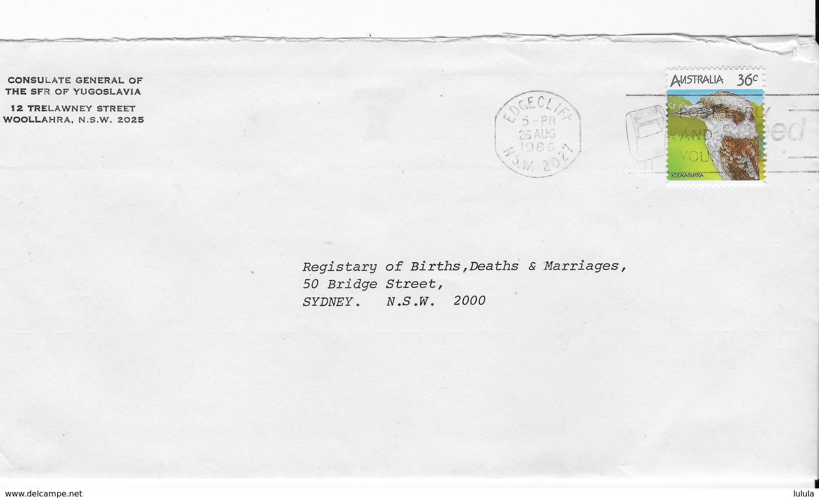 1986 Yugoslavia Socialist Federal Republic Consulate Commercial Cover Kookaburra Bird - 1980-89 Elizabeth II