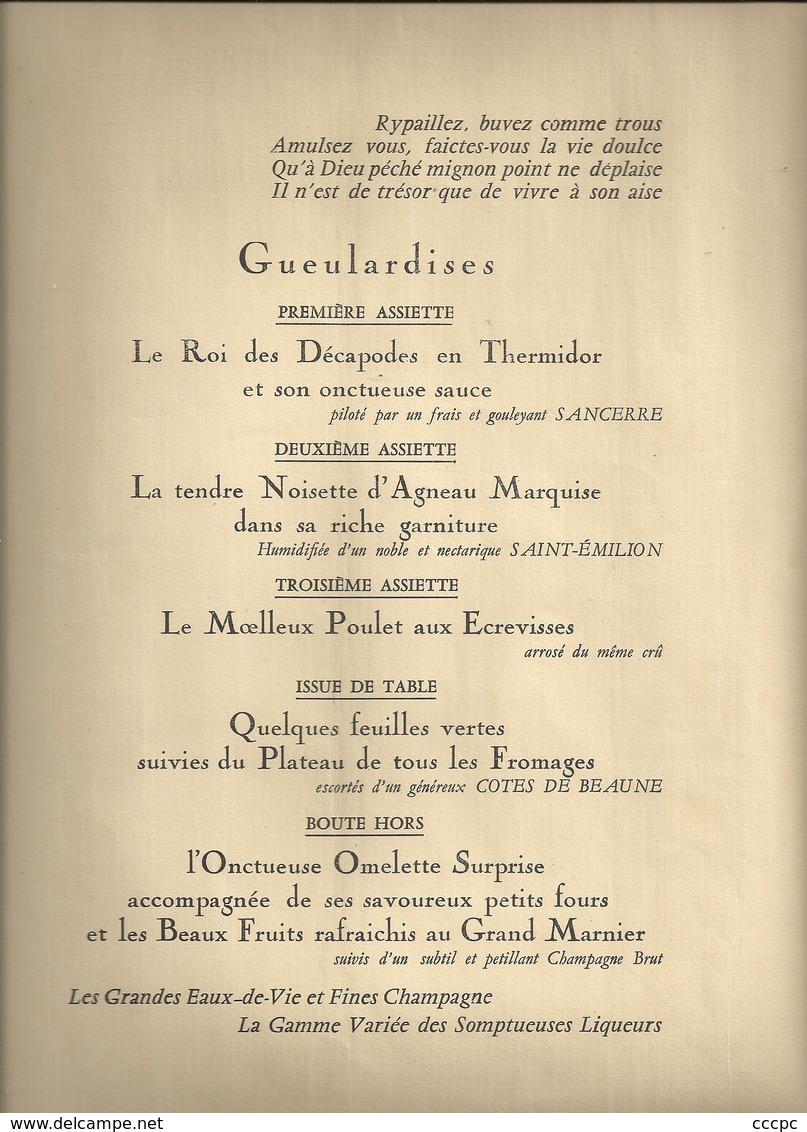 Menu Du Syndicat Des Boulangers La Ponponnette - Menus