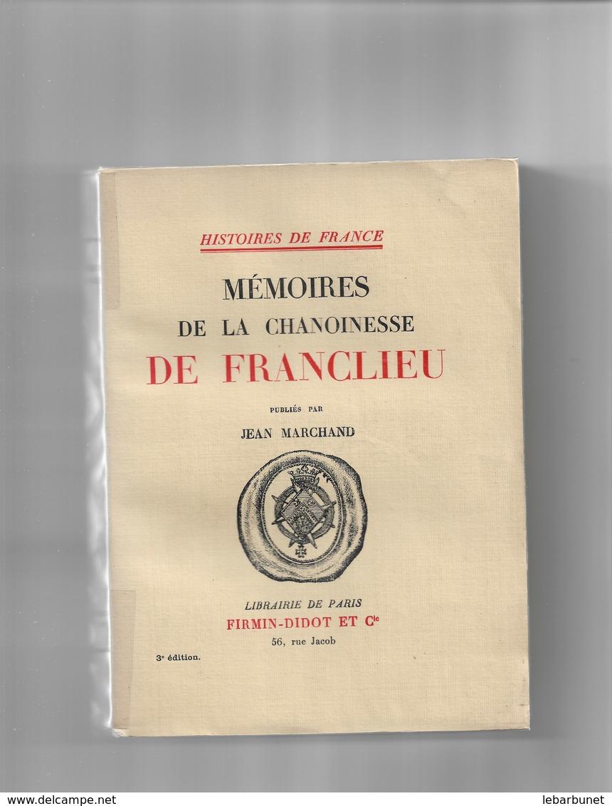 Livre Ancien 1930 Mémoires De La Chanoinesse De Franclieu - Livres, BD, Revues