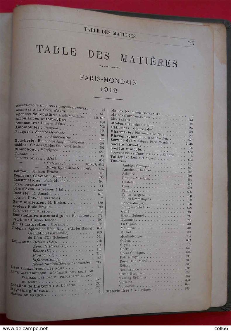 Book 1912 Livre Paris Mondain Et Côte D'Azur Bible Des Grands Noms Imprimerie Paul Dupont Paris 720 Pages 22x16.5x2.5cm - Livres, BD, Revues