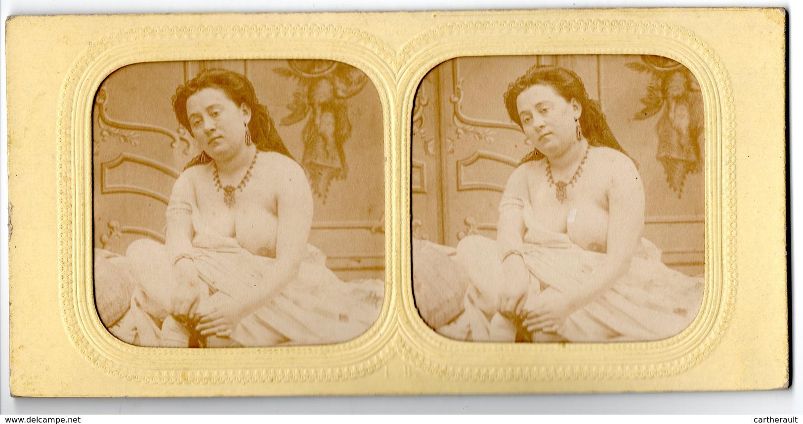 Lot De 2 Photos Stéréos - érotique , Jeune Fille Seins Nus - Photos Stéréoscopiques