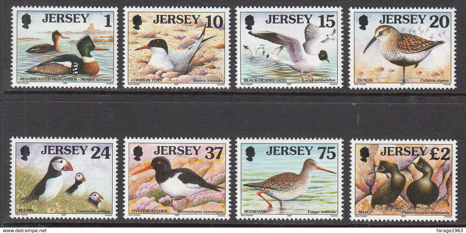 1997 Jersey Birds Oiseaux Complete Set Of 8 MNH @   BELOW FACE VALUE - Jersey