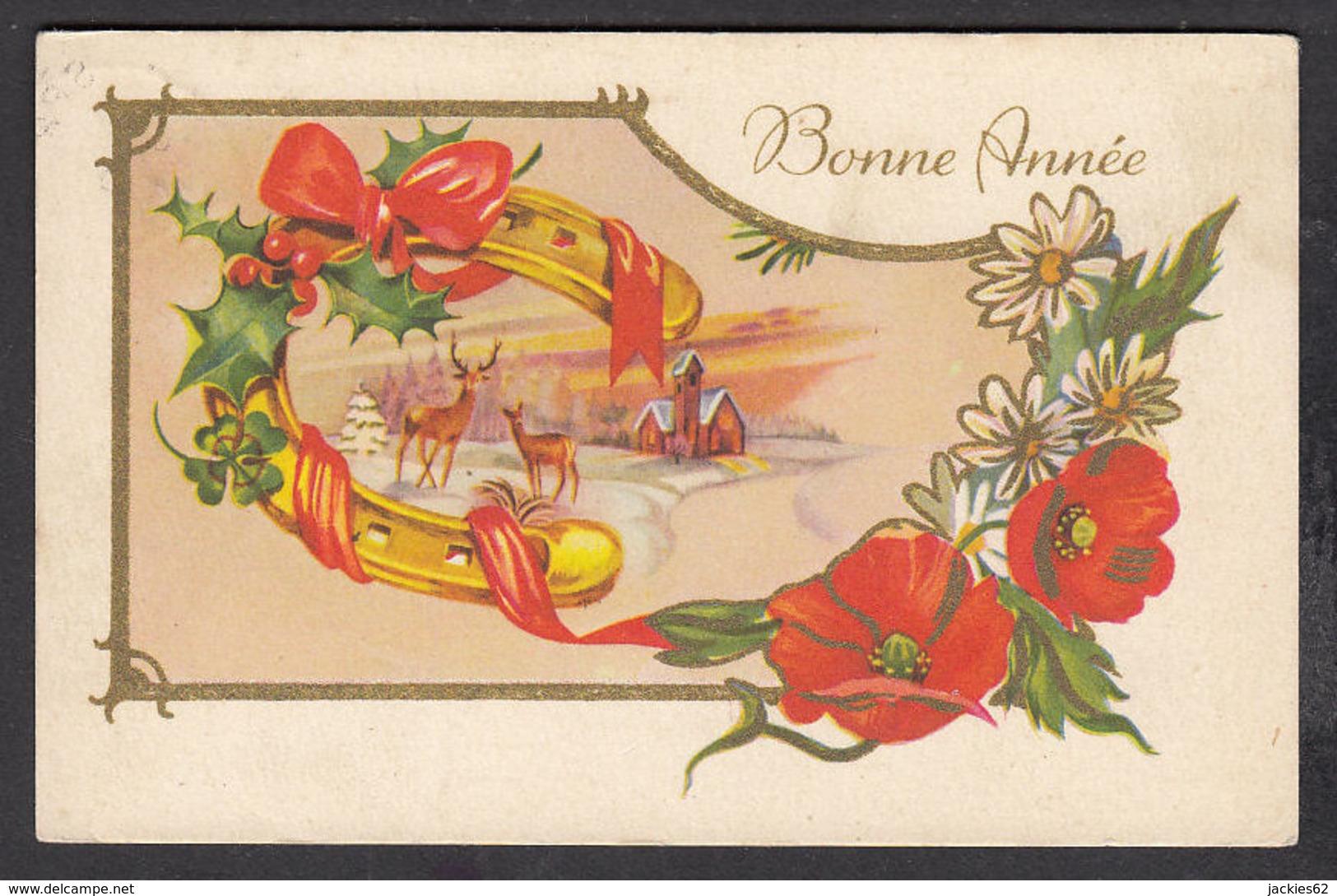 97191/ NOUVEL AN, Fleurs, Coquelicots, Paysage, Biches, Fer à Cheval - New Year