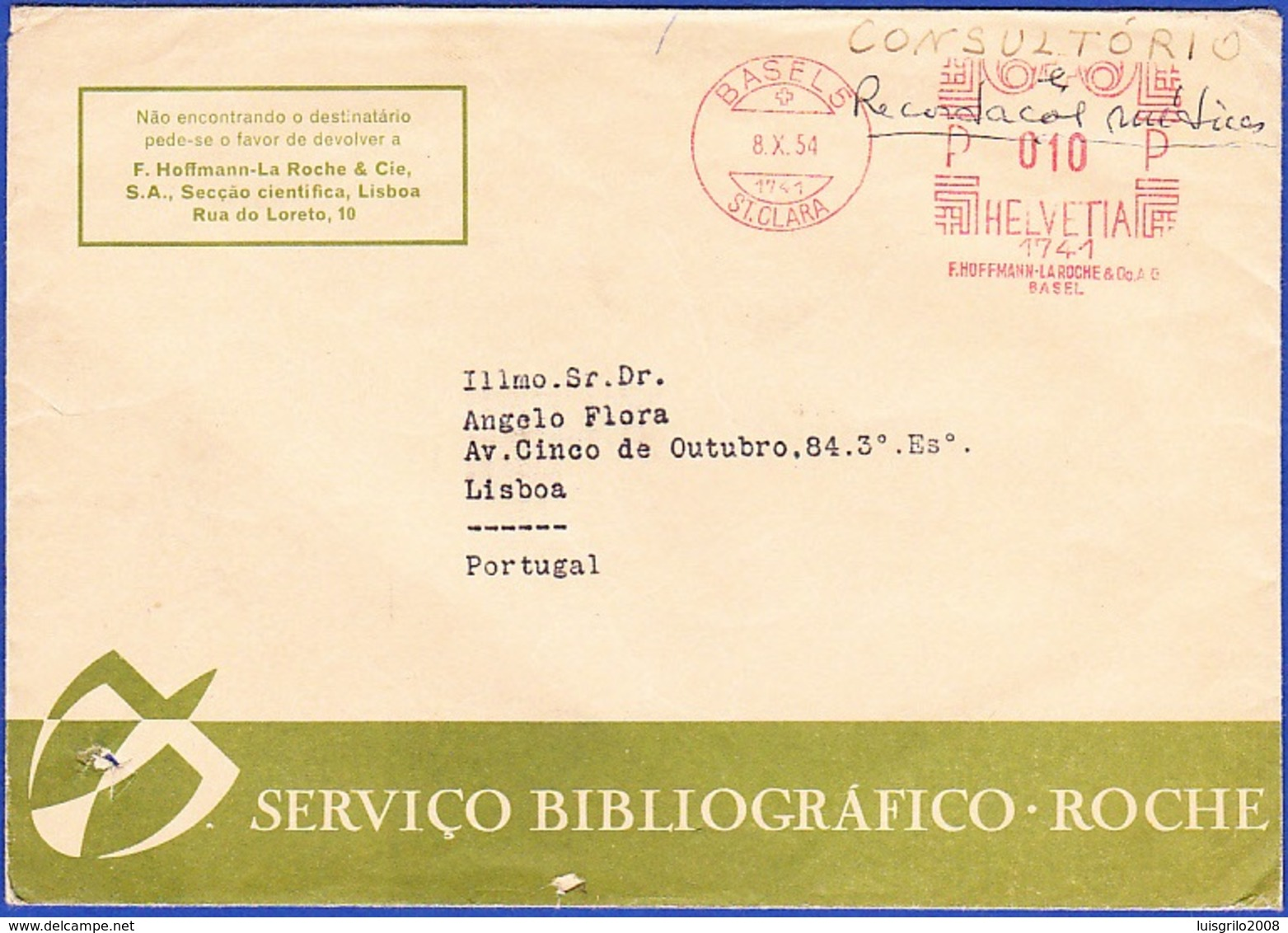 Commercial Cover, F. Hoffman/ La Roche -  Basel To Lisbon, Portugal / BASEL, ST. CLARA, 1954 - Suisse
