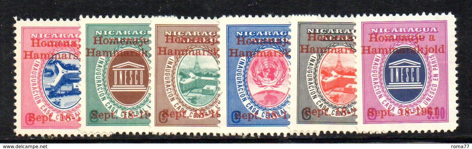 APR1539 - NICARAGUA 1961 , Posta Aerea Serie Yvert N. 465/470  ***  MNH  (2380A) HAMMARSKJOLD - Nicaragua