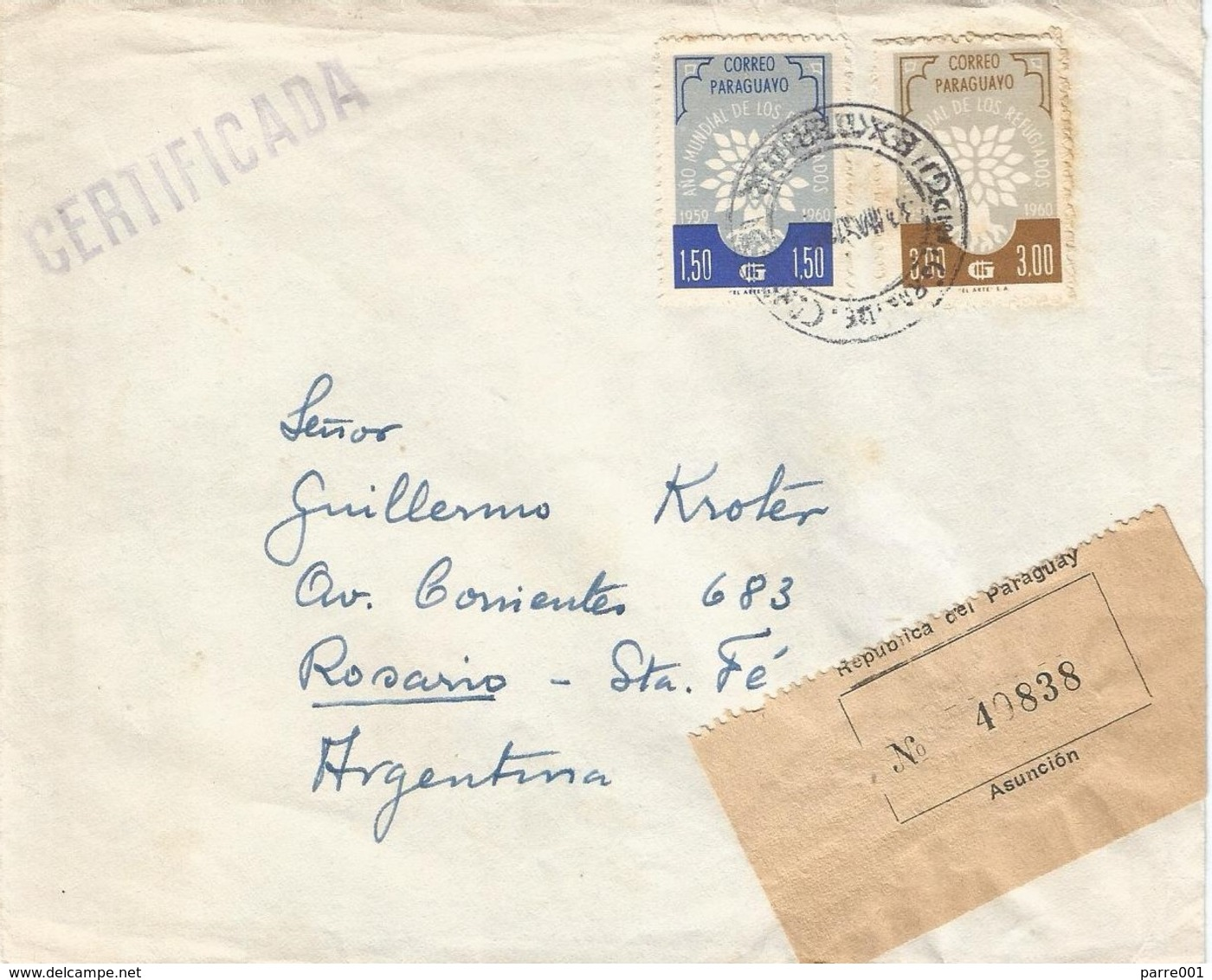 Paraguay 1961 Ascension Refugee Year Registered Cover - Refugees