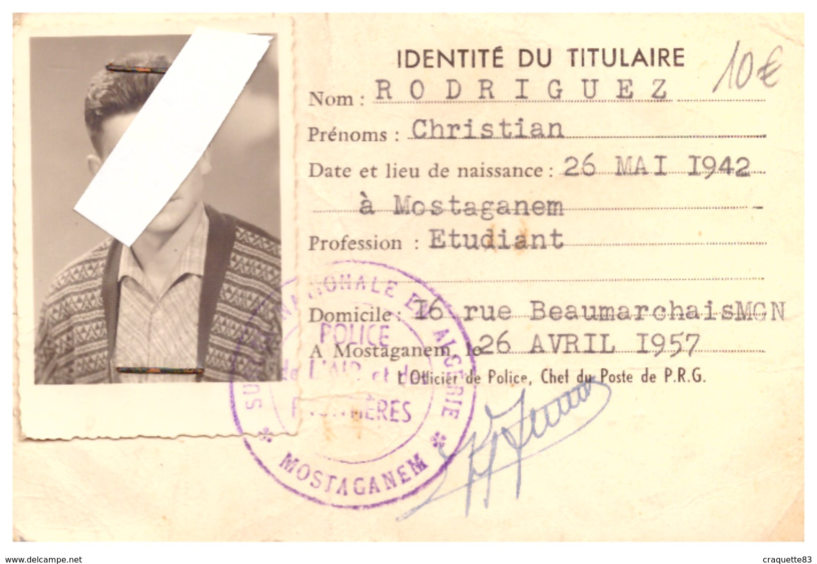 CARTE PORTUAIRE N°1909 - PORT DE MOSTAGANEM   1957  MOSTAGANEM   YATCH CLUB DE MOSTAGANEM - Kaarten