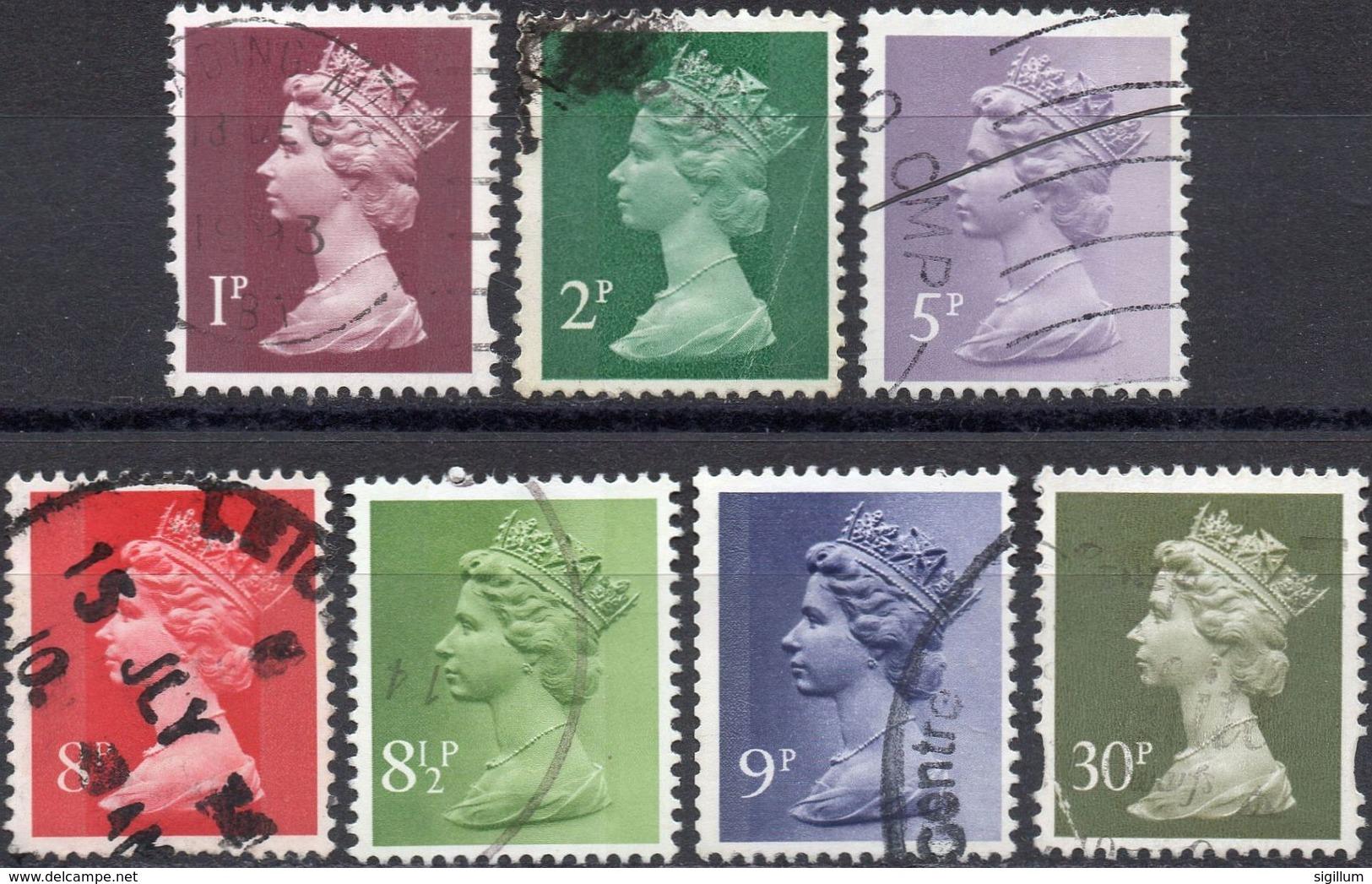 GRAN BRETAGNA 1971/2006 - ELIZABETH II - 7 VALORI USATI - Usati