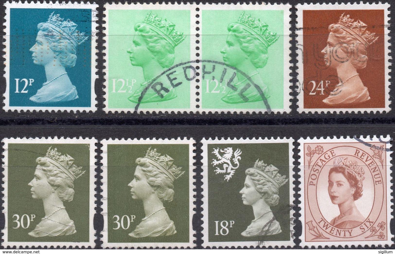 GRAN BRETAGNA 1971/2006 - ELIZABETH II - 8 VALORI USATI - Usati