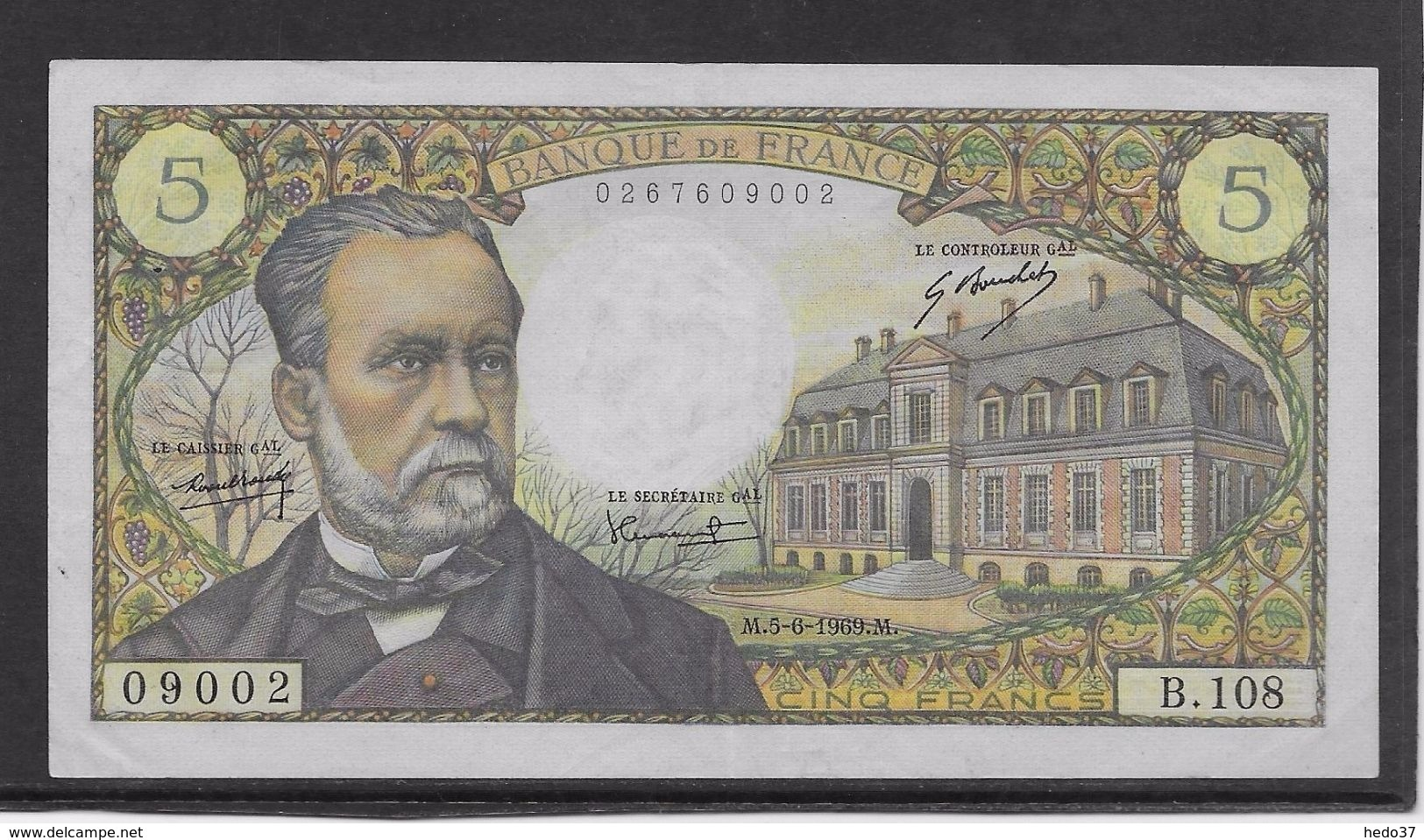 France 5 Francs Pasteur - 5-6-1969 - Fayette N° 61-10 - SUP - 1962-1997 ''Francs''
