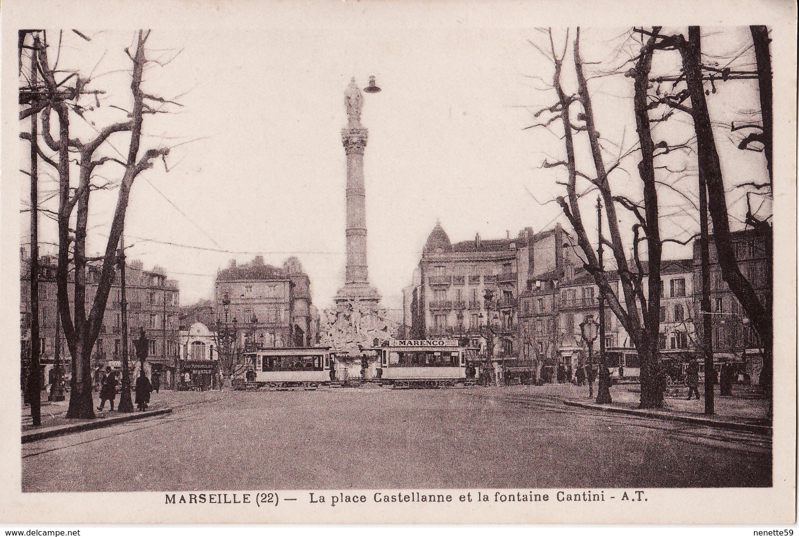 CPA 13 --  MARSEILLE -- La Place Castellanne Et La Fontaine Cantini + Tramways + Belle Animation - Canebière, Centre Ville