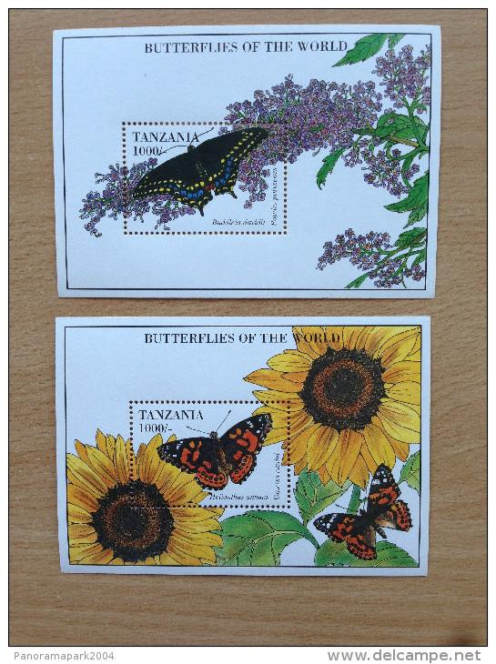 Tanzania 1994 Butterflies Of The World Papillons Schmetterlinge 2 Souvenir Sheets MNH** - Tanzanie (1964-...)
