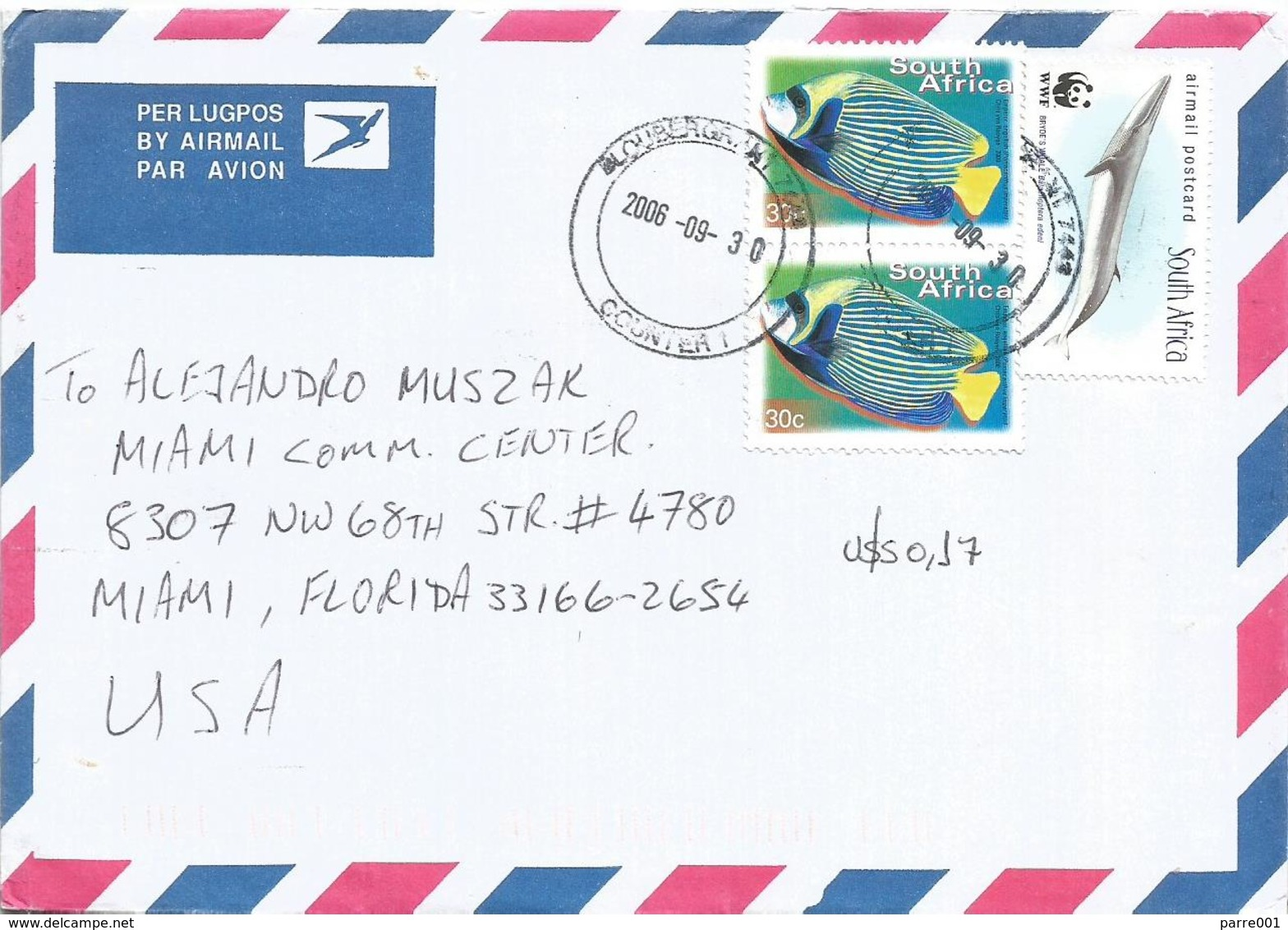 South Africa 2006 Bloubergrant WWF Bryde's Whale Emperor Anglefish Cover - W.W.F.