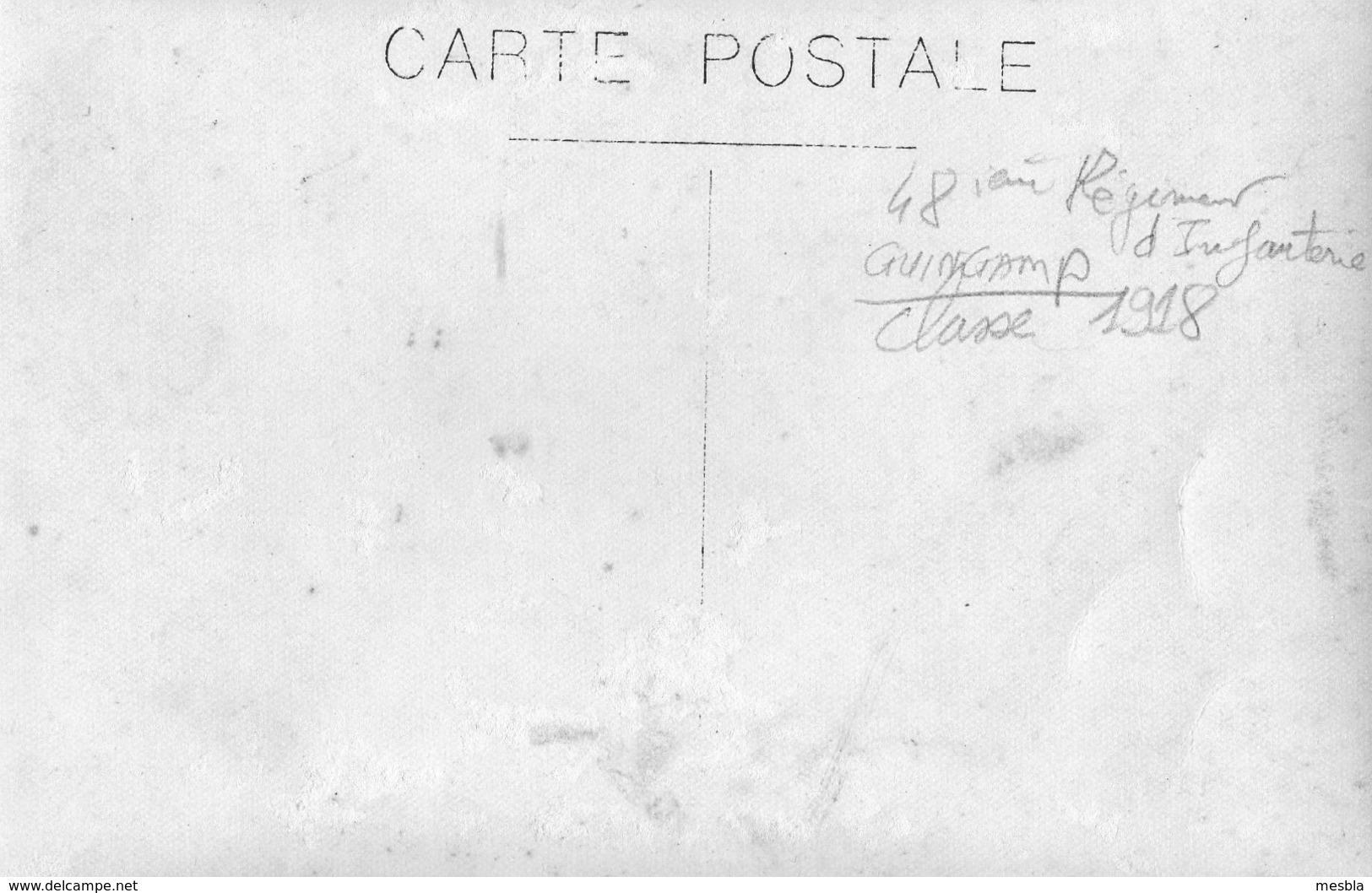 Carte - Photo Authentique -  48éme Régiment D' Infanterie - GUINGAMP -  Classe 1918 - War, Military