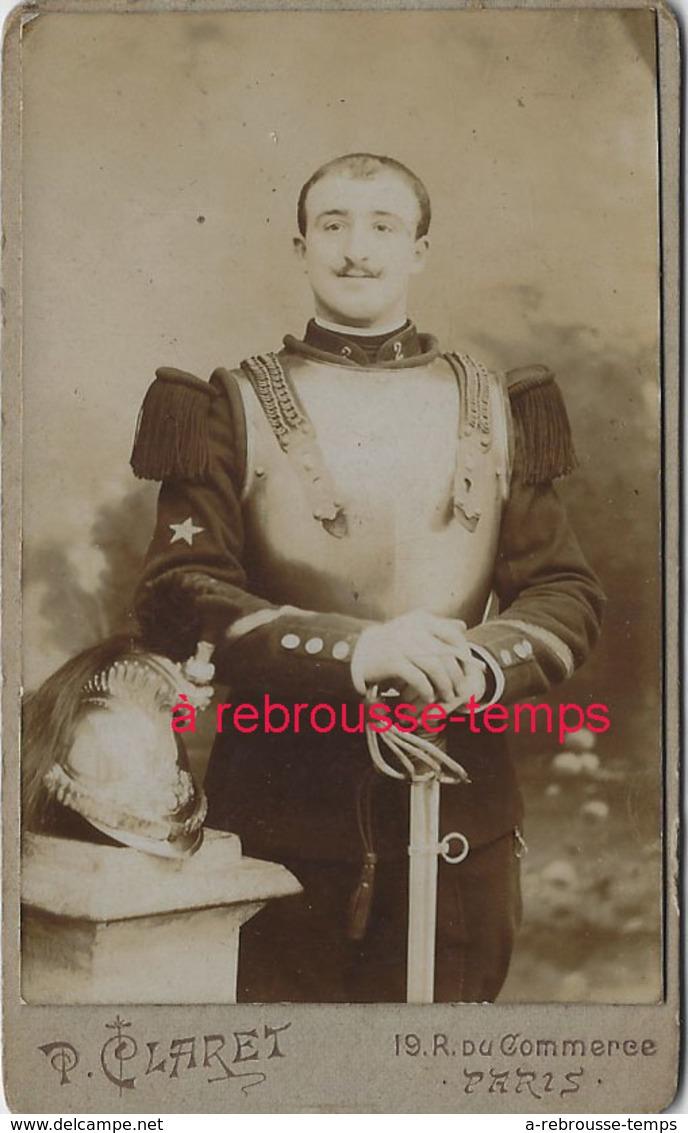 CDV Cuirassier 2e R-photo Claret à Paris - Guerre, Militaire