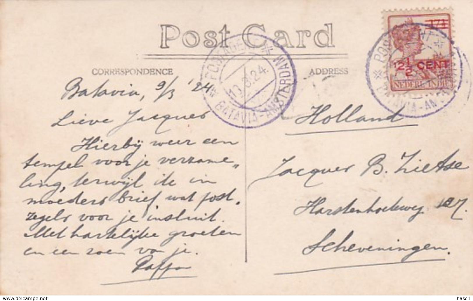 2507      7             Hindu Temple Singapore 1924 (FOTO KAART)Stempel In Het Paars Postagent Batavia- - Indonesien